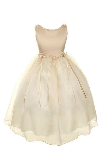 Classic Satin and Organza Dress with Matching Rosebud and Ribbons - Champagne, Size 6