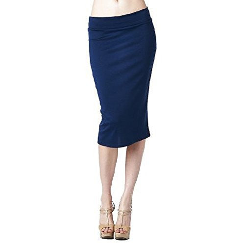 Women'S Ponte Roma From Office Wear to Casual Below Knee Pencil Skirt - Navy S