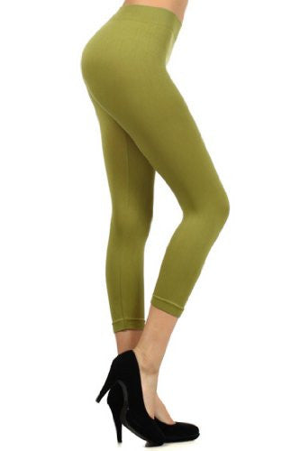 Yelete Capri, Seamless Leggings - Dark Olive