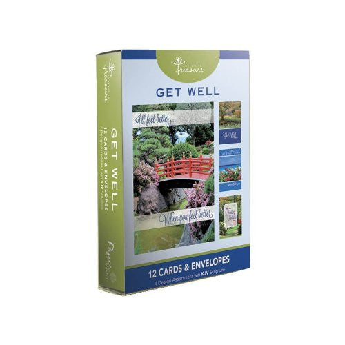 12PK BOXED GET WELL CARDS WITH SCRIPTURE - Landscapes - 1 box. 4 designs in box. Bulk packed.