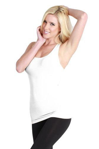 Seamless Plain Jersey Racer Back Tank - 7 White, One Size