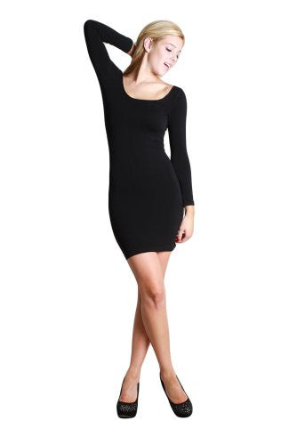 Seamless 3/4 Sleeve Scoop Neck Dress - 6 Black, One Size