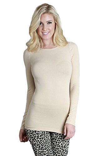 Seamless Long Sleeve Crew Neck Top - 13 Stone, One Size