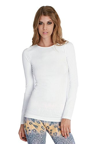 Seamless Long Sleeve Crew Neck Top - 7 White, One Size