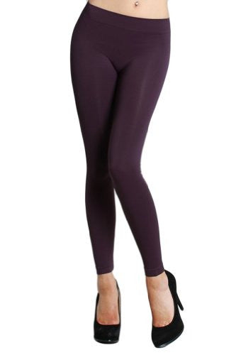 Seamless Ankle Length Leggings - 96 Dark Purple, One Size
