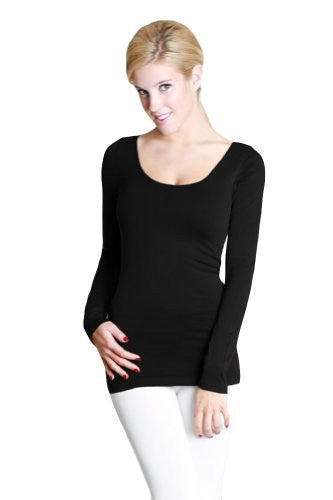 Seamless Long Sleeve Scoop Neck Top - 6 Black, One Size