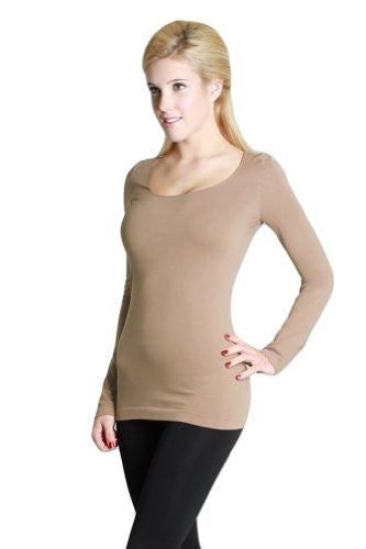 Seamless Long Sleeve Scoop Neck Top - 13 Stone, One Size