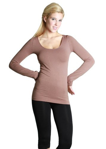 Seamless Long Sleeve Scoop Neck Top - 23 Taupe, One Size