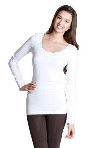 Seamless Long Sleeve Scoop Neck Top - 7 White, One Size