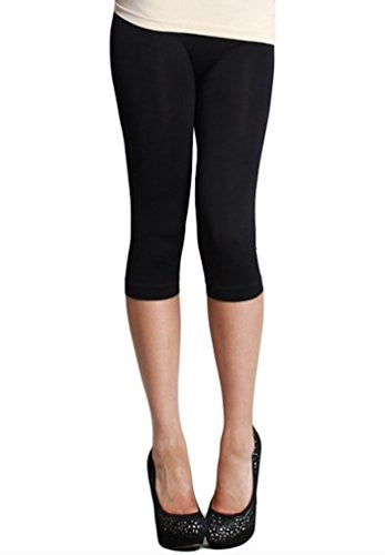 Plain Jersey Thicker Fabric Capri Leggings - 6 Black, One Size