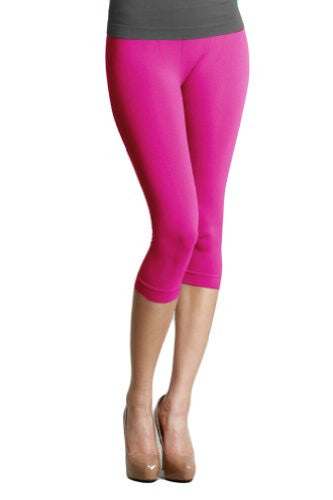 Plain Jersey Thicker Fabric Capri Leggings - 8 Fuchsia, One Size