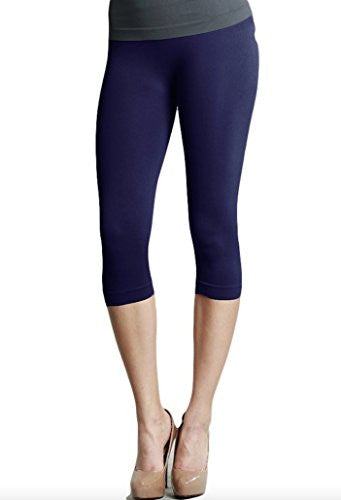 Plain Jersey Thicker Fabric Capri Leggings - 22 Navy, One Size