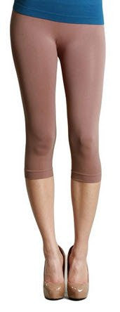 Plain Jersey Thicker Fabric Capri Leggings - 23 Taupe, One Size