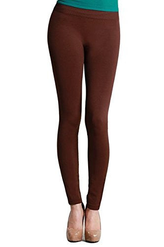 Seamless Ankle Length Leggings - 15 Dark Brown, One Size