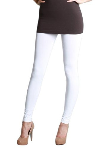 Seamless Ankle Length Leggings - 7 White, One Size