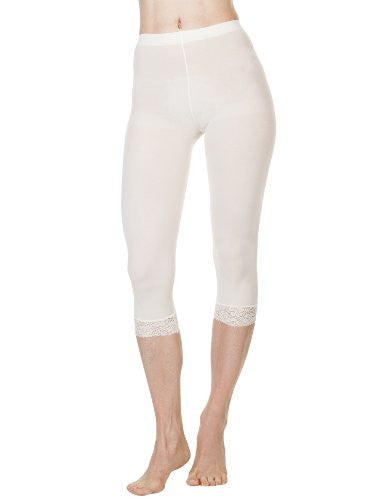 Microfiber Capri with Lace - Ivory