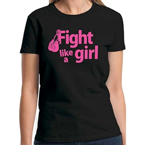 """Fight Like a Girl"" with Boxing Gloves Unisex Black T-Shirt (Medium)"""
