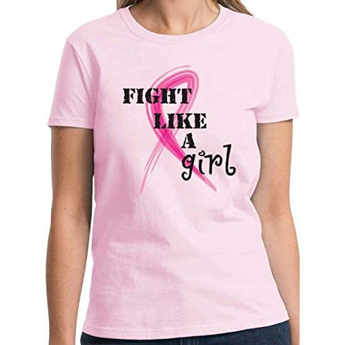 """Fight Like a Girl"" Ladies Fit Pink T-Shirt (Medium)"""