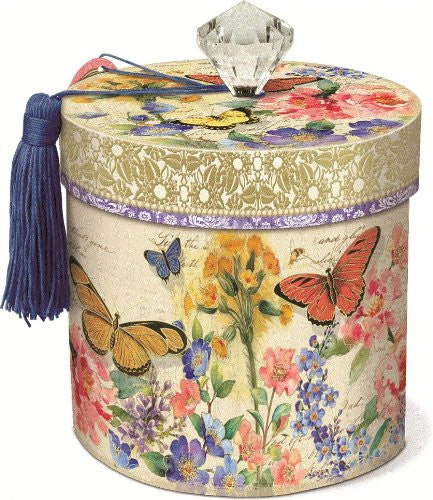 Bluebell Butterflies Boudoir Collection Toilet Tissue Holder with Lid