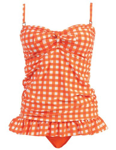 Marina West 2 Piece Bandeau Tankini Swimsuit Set (GIngham Orange / Large)