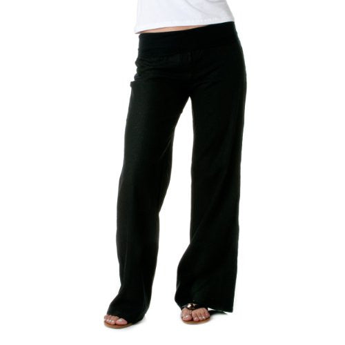 Love Tree Womens Fold-Over Waist Linen Pants (Black, Medium)