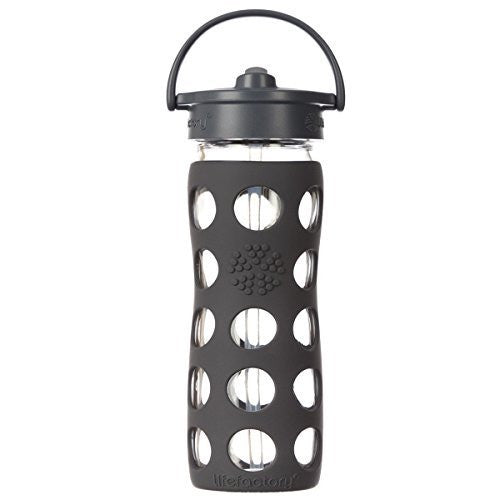 Lifefactory 224045 Glass Water Bottle with Straw Cap, 16 Oz, Carbon
