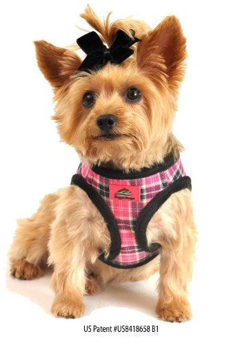 American River Pink Plaid and Minky Fur Ultra Choke Free Dog Harness, Large