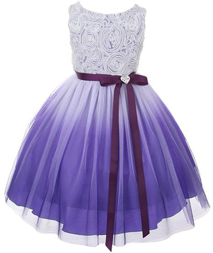 Stunning Ombre Dress with Rosette Top - Purple, Size 14