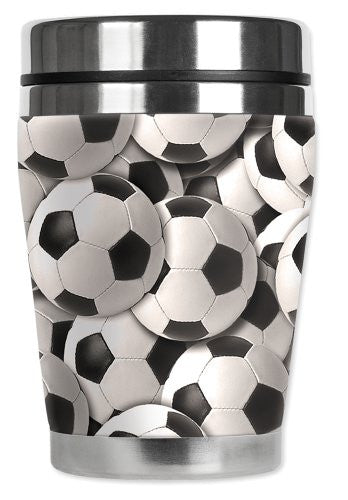 "Mugzie® brand 12-Ounce ""Mini"" Travel Mug with Insulated Wetsuit Cover - Soccer Balls"