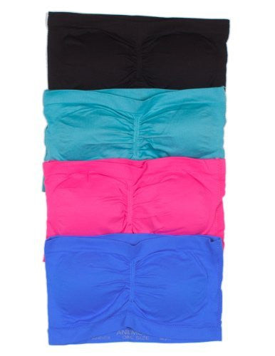 Anenome Women's Strapless Seamless Bandeau Padding (2 or 4 pack),One Size,4 Pack: Black/Blue/Pink/L.Teal