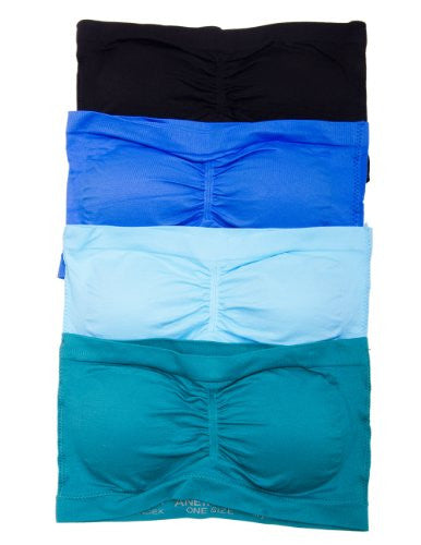 Anenome Women's Strapless Seamless Bandeau Padding (2 or 4 pack),One Size,4 Pack: Black/D.Teal/Blue/L.Blue