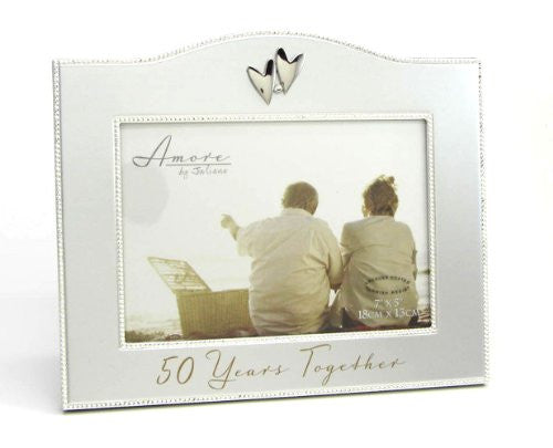 "7.75""H 50TH ANNIVERSARY FRAME HOLDS 5X7 PHOTO"