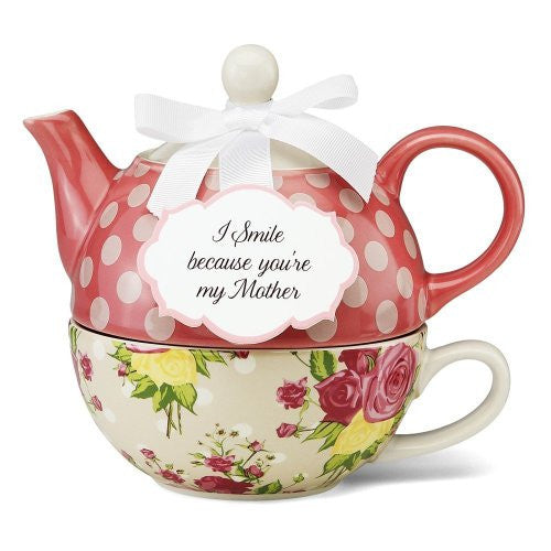 "Mother 6"" Autumn Rose Floral Tea for One with removable sentiment plaque"