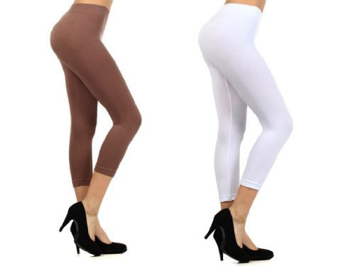 Yelete Plus Size Seamless Solid Color Capri Nylon Leggings - White & Taupe - Pack of 2