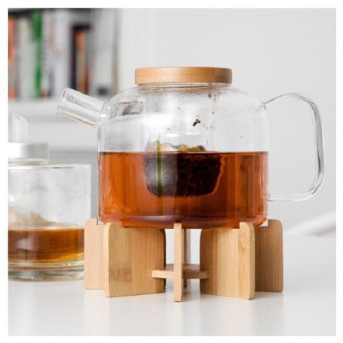 GLASS TEA POT WITH STAND