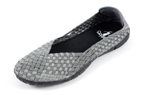 Corkys Womens Sidewalk Casual Flats Shoes,Pewter,6