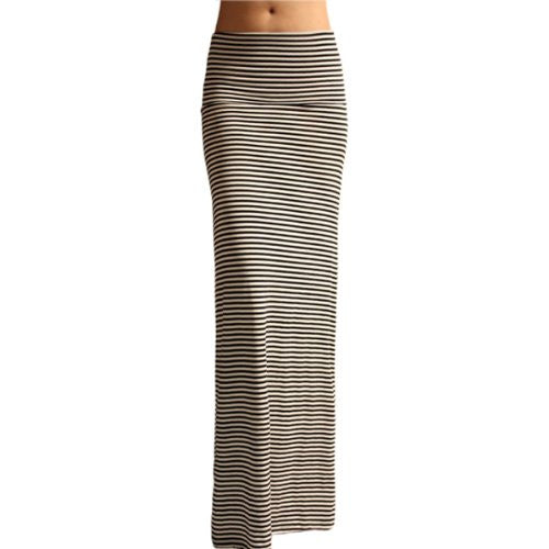 Azules Women's Rayon Span Maxi Skirt (Black/White / Medium)