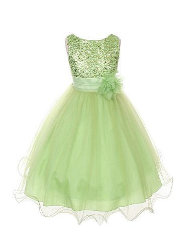 Stunning Sequined Bodice with Double Layered Mesh - Lime Green, Size 8