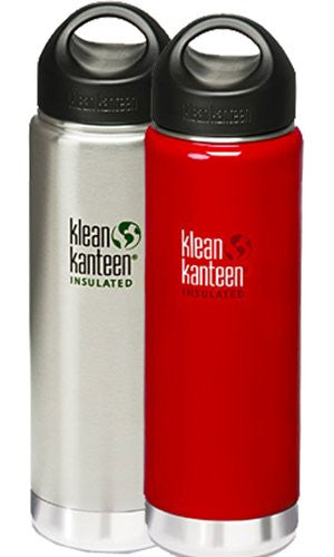 Klean Kanteen Wide Mouth Insulated Water Bottle with Loop Cap,20-Ounce,2 Pk: Brushed Stainless & Sangria Red