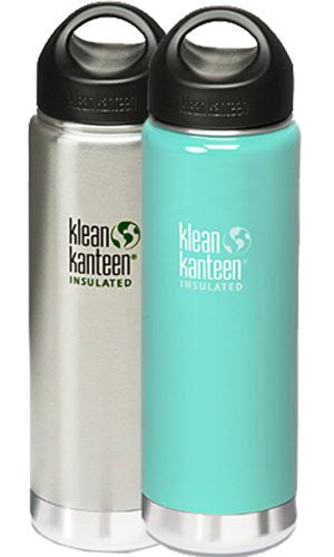 Klean Kanteen Wide Mouth Insulated Water Bottle with Loop Cap,20-Ounce,2 Pk: Brushed Stainless & Glacial Glass