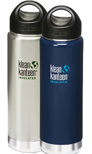Klean Kanteen Wide Mouth Insulated Water Bottle with Loop Cap,20-Ounce,2 Pk: Brushed Stainless & Night Sky