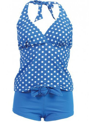 Marina West Women's Halter Tankini & Shorts Swimsuit Set (2 Piece) (Blue/White Dot / Small)