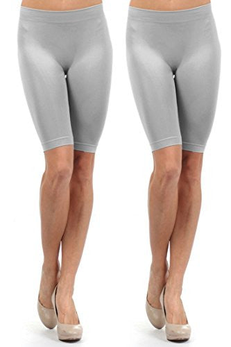 Yelete Seamless Spandex Shorts - Grey- Pack of 2