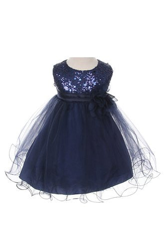 Stunning Sequined Bodice with Double Layered Mesh - Navy, X-Large
