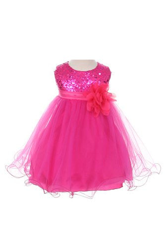 Stunning Sequined Bodice with Double Layered Mesh - Fuchsia, Medium