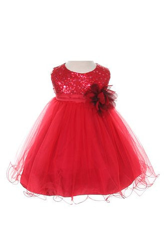 Stunning Sequined Bodice with Double Layered Mesh - Red, X-Large