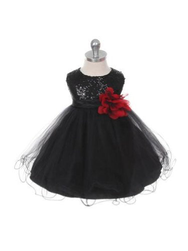 Stunning Sequined Bodice with Double Layered Mesh - Black, X-Large