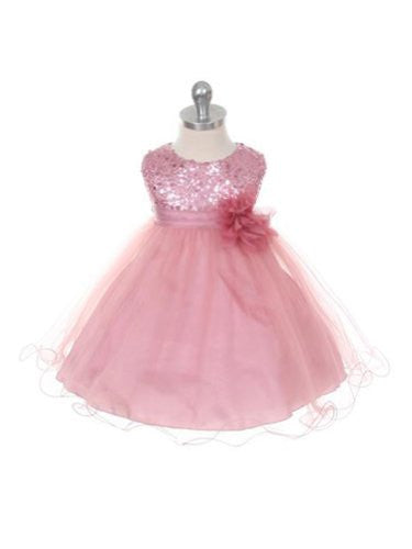 Stunning Sequined Bodice with Double Layered Mesh - Rose, Medium