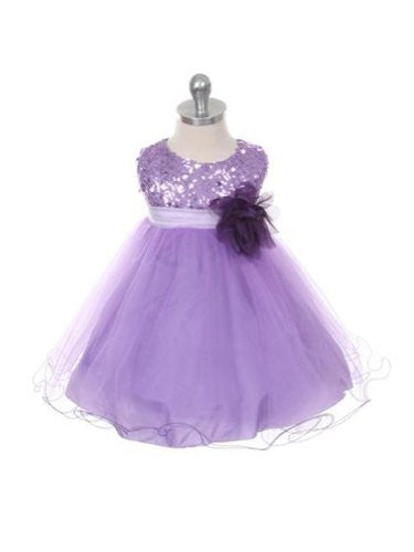 Stunning Sequined Bodice with Double Layered Mesh - Lavender, Medium