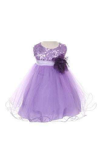 Stunning Sequined Bodice with Double Layered Mesh - Lavender, Large